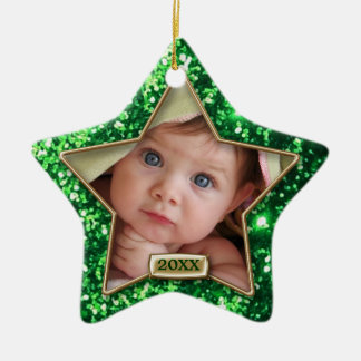 Sparkle Star Green/Gold Photo Christmas Ornament