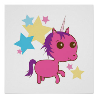 Sparkle Star Pink Unicorn Poster