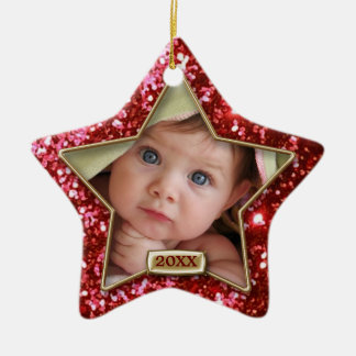 Sparkle Star Red/Gold Photo Christmas Ornament