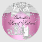 Sparkle Tiara & Heels Pink Sweet 16 Sticker