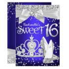 Sparkle Tiara & Heels Sweet 16 Invite Royal Blue