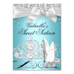 Sparkle Tiara Heels Teal Sweet 16 11 Cm X 16 Cm Invitation Card