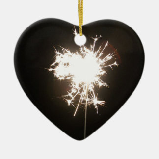 Sparkler Ceramic Heart Decoration