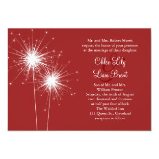 Sparkler in Red Wedding Invitation