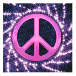 Sparkler Pink Peace Sign Invitations