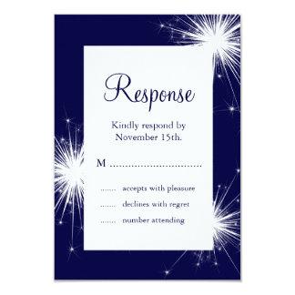 Sparkler Wedding RSVP (blue) 9 Cm X 13 Cm Invitation Card