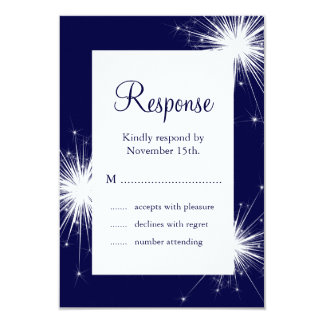 Sparkler Wedding RSVP (blue) Card