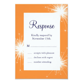 Sparkler Wedding RSVP (orange) 9 Cm X 13 Cm Invitation Card