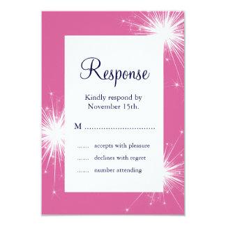 Sparkler Wedding RSVP (pink) 9 Cm X 13 Cm Invitation Card