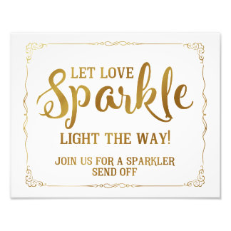 sparkler wedding sign gold photo art
