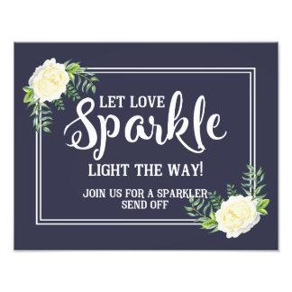 sparkler wedding sign Navy blue Ivory Rose