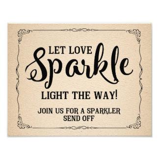 sparkler wedding sign vintage paper