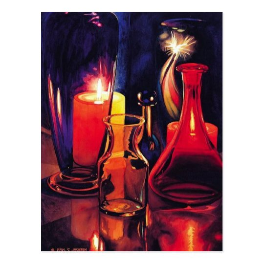 """Sparklers"" Art Glass Watercolor Postcard"
