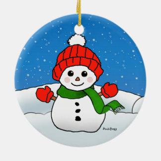 Sparkles the Snowman: Happy Holidays! Round Ceramic Decoration