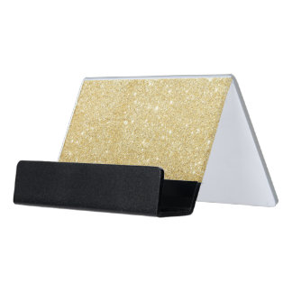 Sparkley Golden Stylish Glitter Desk Business Card Holder