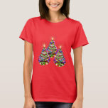 Sparkling Abstract Christmas Trees Design on Red T-Shirt