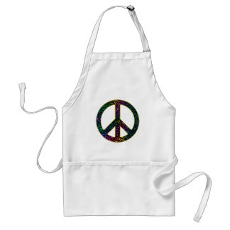 Sparkling Awesome Rainbow Leopard Peace Sign Standard Apron