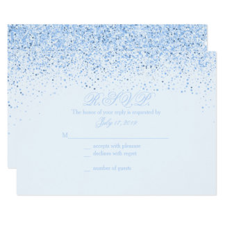 Sparkling Baby Blue Glitter Wedding Response Cards