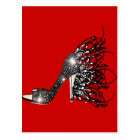 Sparkling Black Stiletto on Red Postcard