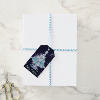 Sparkling Blue Christmas Tree on Night Sky Gift Tags