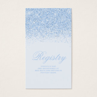 Sparkling Blue Glitter Wedding Registry Card