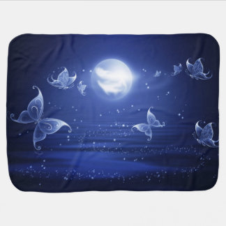 Sparkling Butterflies Luna moths fly by moon light Baby Blanket