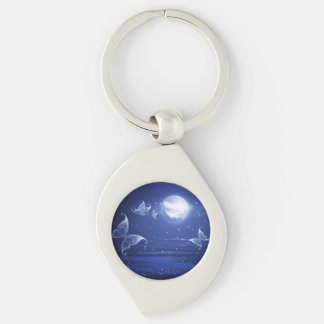 Sparkling Butterflies Luna moths fly by moon light Silver-Colored Swirl Key Ring