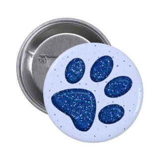 sparkling cat paw print - blue 6 cm round badge