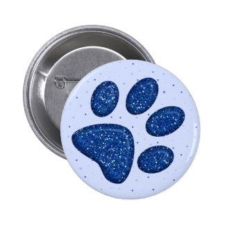 sparkling cat paw print - blue 6 cm round badge