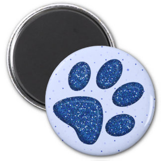 sparkling cat paw print - blue 6 cm round magnet