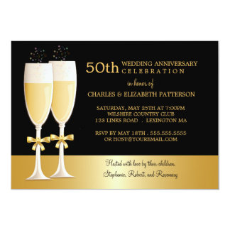 Sparkling Champagne 50th Wedding Anniversary Party Card