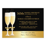 Sparkling Champagne 50th Wedding Anniversary Party Custom Invitation