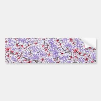 Sparkling Cherry Blossoms on Purple Bumper Sticker