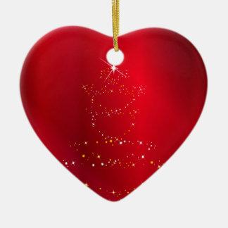 Sparkling Christmas Tree Background Ceramic Heart Decoration