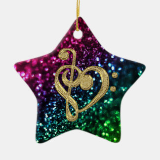 Sparkling Colored Stars with Music Symbols Christmas Ornament