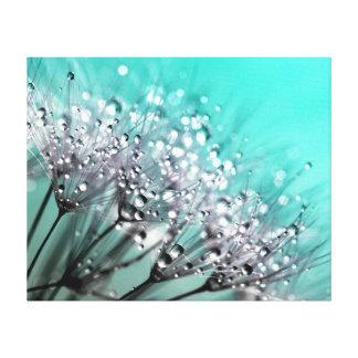 Sparkling Dew Dandelion Bright Turquoise Canvas Print