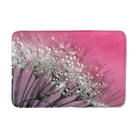 Sparkling Dew Dandelion Hot Pink Background Bath Mats