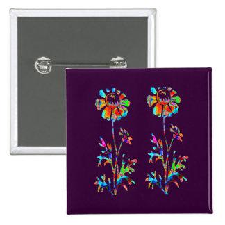 Sparkling Flowers 15 Cm Square Badge