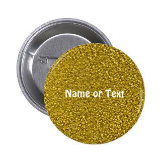sparkling glitter golden 6 cm round badge