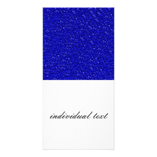 sparkling glitter inky blue. personalised photo card