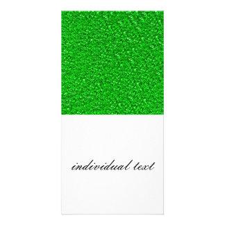 sparkling glitter neon green customized photo card