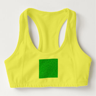 sparkling glitter neon green sports bra