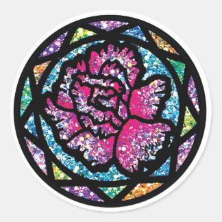 Sparkling Glitter Pink Carnation Round Sticker