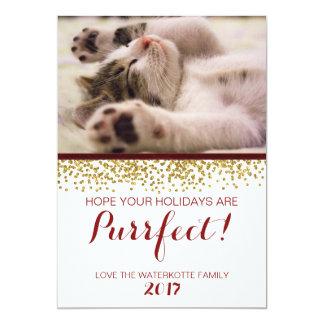 Sparkling Glitter Ribbon Christmas  Pet Photocard Card