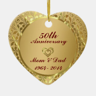 Sparkling Gold  50th Wedding Anniversary Ceramic Heart Decoration