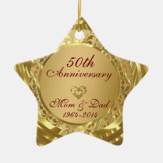 Sparkling Gold  50th Wedding Anniversary Christmas Ornament