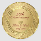 Sparkling Gold 50th Wedding Anniversary Classic Round Sticker