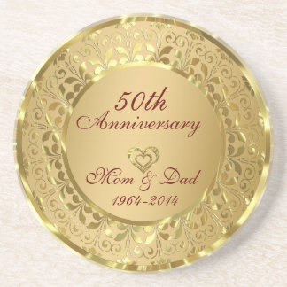 Sparkling Gold 50th Wedding Anniversary Coaster