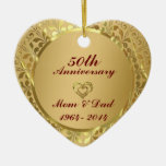 Sparkling Gold  50th Wedding Anniversary Ornaments