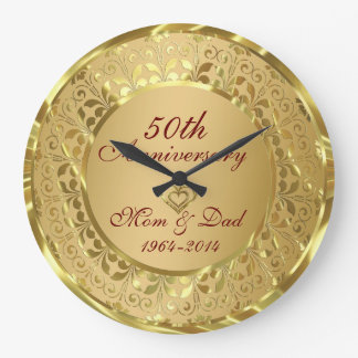 Sparkling Gold 50th Wedding Anniversary Wall Clocks